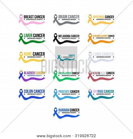Cancer Ribbon. Vector Realistic 3d Awareness Ribbon Different Color Set Closeup Isolated On White Ba