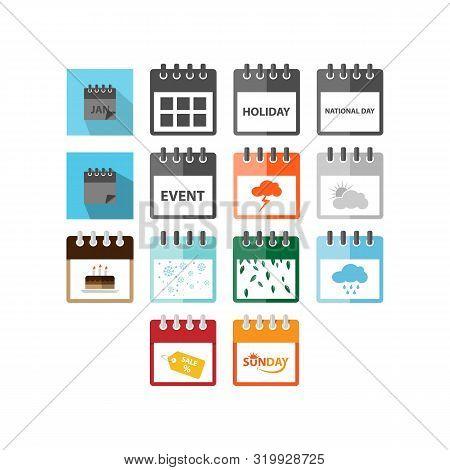 Set Of Calendar Icon Isolated Black On White Background, Calendar Icon Vector Flat Modern, Calendar