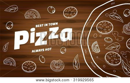 Pizza Food Menu For Restaurant And Cafe. Design In Doodle Lineart Style Template Flyer Baner With In