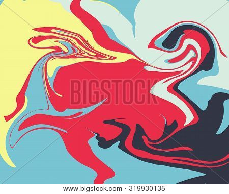The Style Of Ebru. Blue, Red And Yellow Colors. Hand Drawn Vector Background. Fashionable Print For