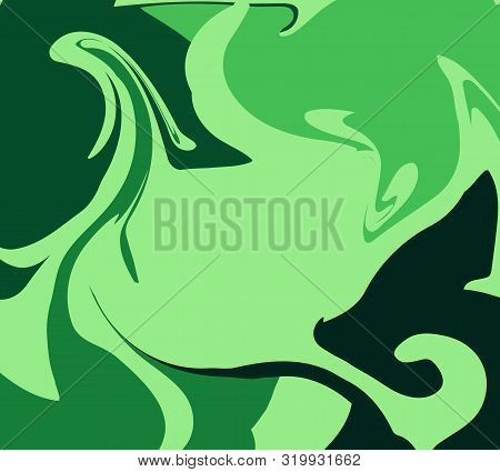 The Style Of Ebru. Green Gradient Colors. Hand Drawn Vector Background. Fashionable Print For Textil