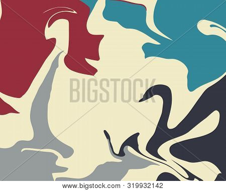The Style Of Ebru. Blue, Red, Gray And White Colors. Hand Drawn Vector Background. Fashionable Print
