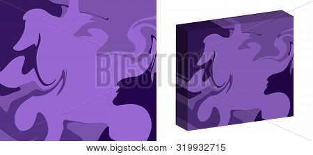 The Style Of Ebru. Lilac Gradient Colors. Hand Drawn Vector Background. Fashionable Print For Textil