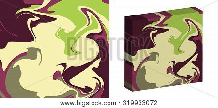 The Style Of Ebru. Green, Light And Brown Colors. Hand Drawn Vector Background. Fashionable Print Fo