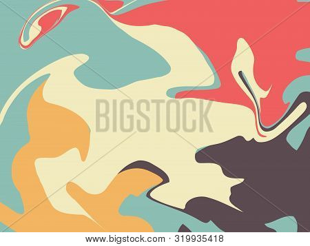 The Style Of Ebru. Green, Orange, Beige And Pink Colors. Hand Drawn Vector Background. Fashionable P