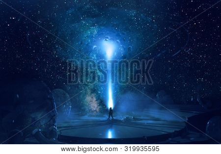 Abstract Artistic Rendering Illustration Of A Multicolored Dimensional Galactic Gate In The Sky Hitt