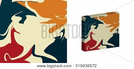 The Style Of Ebru. Green, Orange, White And Red Colors. Hand Drawn Vector Background. Fashionable Pr