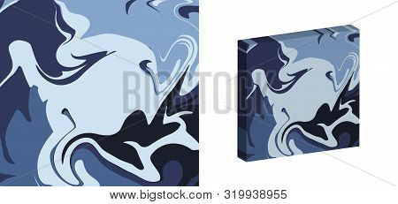 The Style Of Ebru. Blue Gradient Colors. Hand Drawn Vector Background. Fashionable Print For Textile