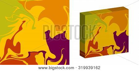 The Style Of Ebru. Green, Orange And Lilac Colors. Hand Drawn Vector Background. Fashionable Print F