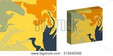 The Style Of Ebru. Yellow, Orange And Gray Colors. Hand Drawn Vector Background. Fashionable Print F