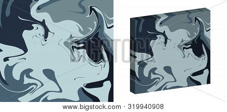 The Style Of Ebru. Blue, Dark And Gray Colors. Hand Drawn Vector Background. Fashionable Print For T