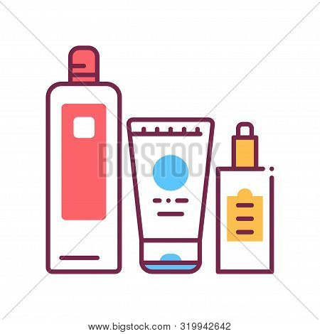 Comprehensive Hair Care Color Line Icon. Cosmetic Products: Shampoo, Conditioner, Oil. Beauty Indust