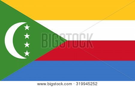 Flag Of The Comoros Vector Illustration, Worlds Flags Collection