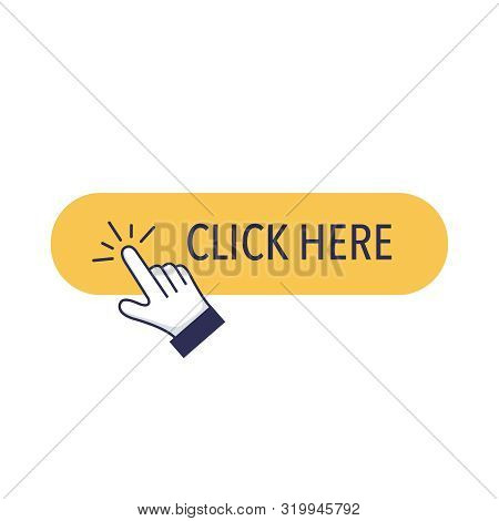 Click Button With Hand Clicking Icon. Click Cursor Or Pointer Vector Icon With A Button For Commerci