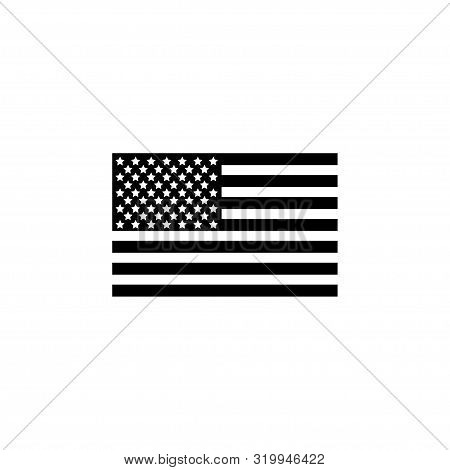 Flag Usa Black Icon. American Symbol. Flag Usa. Flag Usa Isolated On White Background