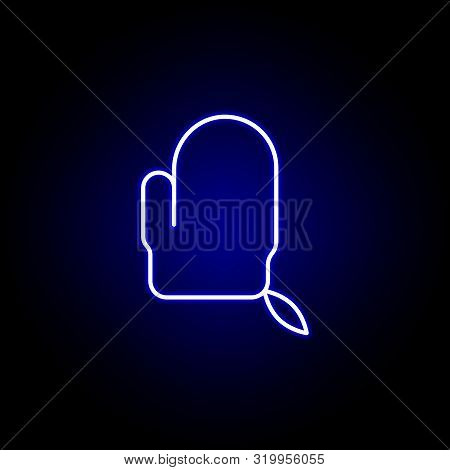 Exfoliating Mitten Line Neon Icon. Elements Of Beauty And Cosmetics Illustration Icon. Signs And Sym