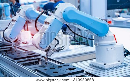 Automatic robot in a smart factory. Assembly line