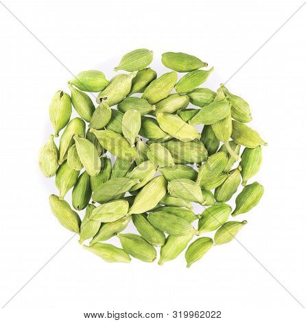 Cardamom Pods Isolated On White Background. Green Cardamon Seeds. Clipping Path. Top View.