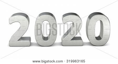 New Year Text In Silver 2020 3d Rendering