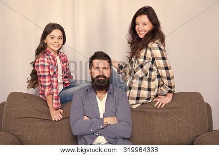 Family Is Best. Bearded Man And Woman With Daughter. Little Girl Love Her Parents. Childrens Day. Fa