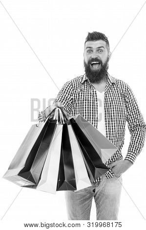 Great Choices Great Purchases. Happy Hipster Holding Purchases In Paperbags Isolated On White. Bruta