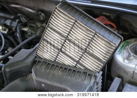 Be Careful Engine Concept, Checking The Condition Of Car Air Filters