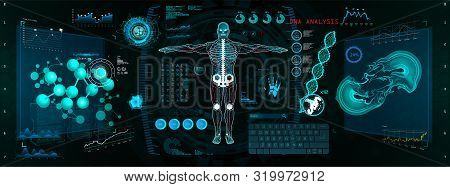 Cyborg Scan, Futuristic Interface Hud, Gui. Human-robot Interaction With The Network, Analysis And T