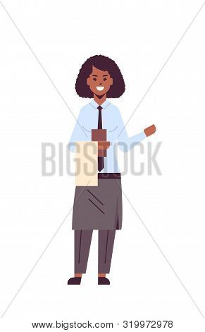 Professional Waitress Holding Menu African American Woman Restaurant Worker In Apron Showing Hospita