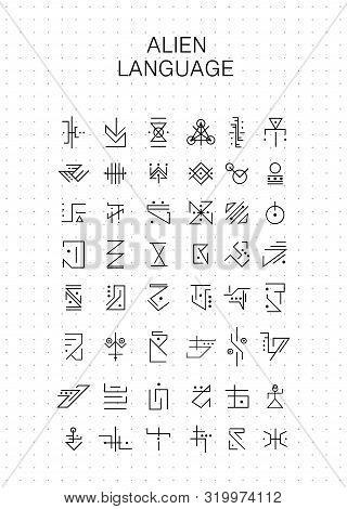 Unknown Alphabet, Alien Hieroglyphics Symbols. Fictional Characters Suitable For Magic Characters, R