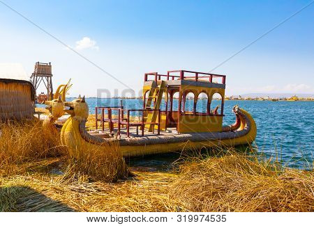 Titicaca Lake Peru, August 16 Straw Boat Use By Uros People To Move Between The Floating Island In T