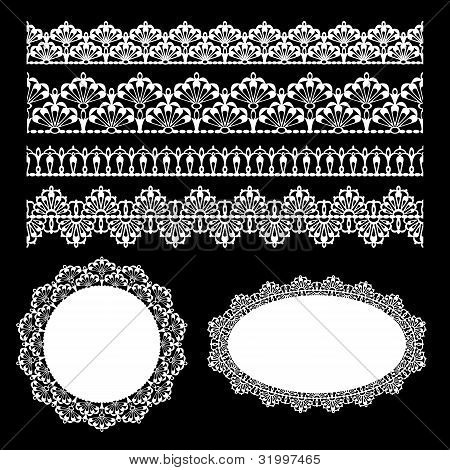 Set of lace trims. Elements can also be used as Illustrator brushes. EPS 8 vector. poster