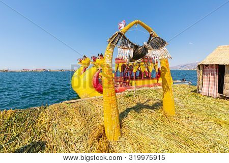 Titicaca Lake Peru, August 16 Gateway To One Of The Uros Floating Islands On Lake Titicaca. Shoot On