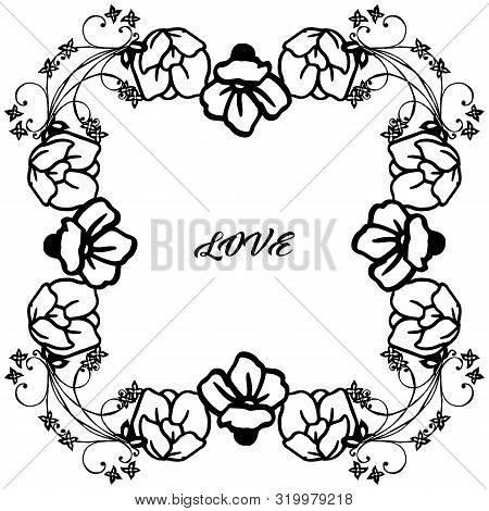 Wallpaper Unique Leaf Flower Frame, Isolated On White Backdrop, For Desin Of Various Card Love. Vect