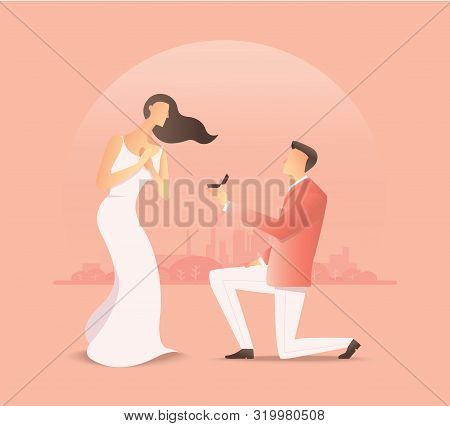 Man Proposing To The Woman, Proposal Of Marriage. Vector Illustration Eps10