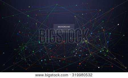 Abstract Low Poly Background. 3d Polygonal Multicolor Graphic. Geometric Shapes With Connected Dots