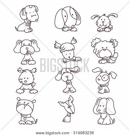 Cartoon puppy and dog. Happy puppies with smiling muzzle, loyal dogs and friendly dog isolated vector set poster