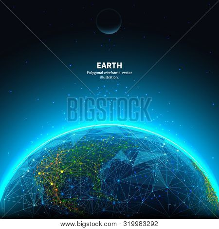 Earth Low Poly Art Illustration. 3d Polygonal Planet. Astronomy Concept With Connected Dots And Line