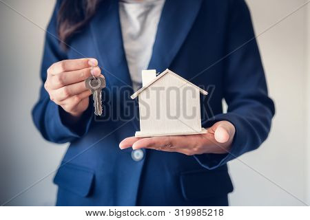 Business Real Estate And Residential Investment Concept, Broker Sell Agency Of Property Estates Givi