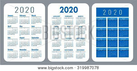 Pocket Calendar 2020 Year Set. Vector Design Collection. Color English Calender. Basic Grid Template