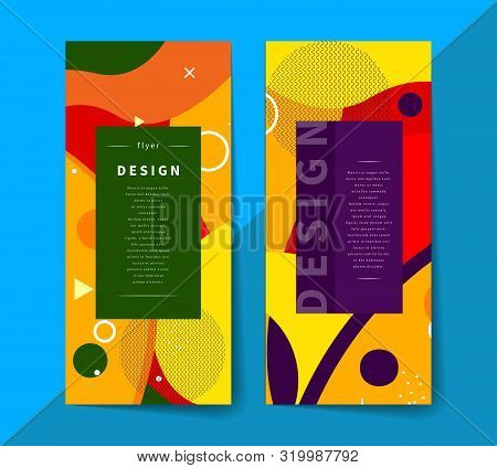 Geometric Label, Abstract Background In Memphis Style, Fashion Vertical Frame, Template For Invitati