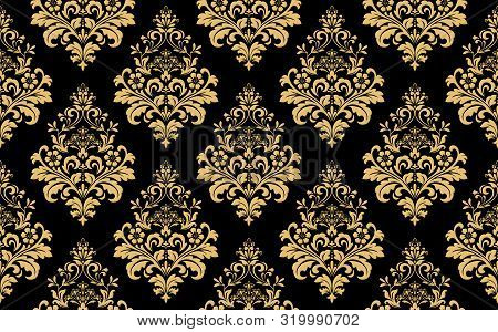 Floral Pattern. Vintage Wallpaper In The Baroque Style. Seamless Background. Gold And Black Ornament