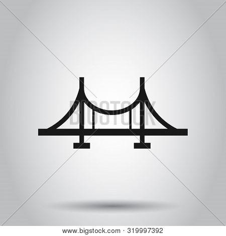 Bridge Sign Icon In Flat Style. Drawbridge Vector Illustration On Isolated Background. Road Business