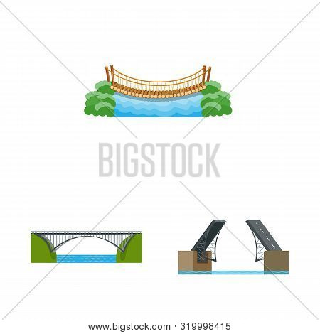 Vector Illustration Of Bridgework And Bridge Symbol. Collection Of Bridgework And Landmark Vector Ic