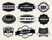 Collection of Premium Quality and Guarantee Labels with retro vintage styled design poster