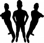 Three men silhouette on a white background poster