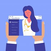 Advertising flyer inscription virtual doctor flat. Mobile device. Therapeutic site. Joyful happy female medical doctor giving online consultation. Fast medical information help via internet. poster