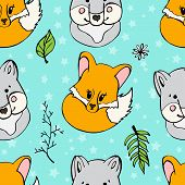 Seamless pattern with cute wild animals. Funny repetitive pattern with cute wolf and fox. Vector illustration for your graphic design. poster