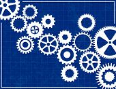 Blueprint Background with White Cogs and Gears poster