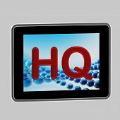 HQ high quality icon as a computer pad screen isolated on grey poster