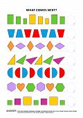 Shapes and colors educational math and logic game. Training sequential pattern recognition skills: What comes next in the sequence? Answer included. poster